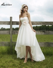 2016 Spring Sweetheart High Low Bridal Gowns Organza Appliques Short Front Long Back Wedding Dresses abiti da sposa Custom Made