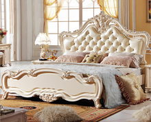 Hand Carving Luxury King Size Bedroom Furniture Set , High Head Royal Style A852(China)