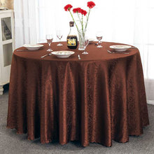 UXCELL Hotel Restaurant Polyester Round Flower Pattern Tablecloth Table Cloth Cover Coffee Color 2.4M Diameter(China)