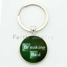 Character Breaking and Bad art picture glass cabochon key chain gentleman solid color keychain jewelry handmade gift KC 062