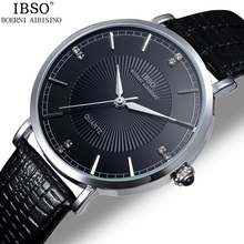 IBSO Genuine Leather Men Watch Luxury Men Quartz Watch 30m Waterproof Men Dress Watch Men's Fashion Wristwatch relogio masculino