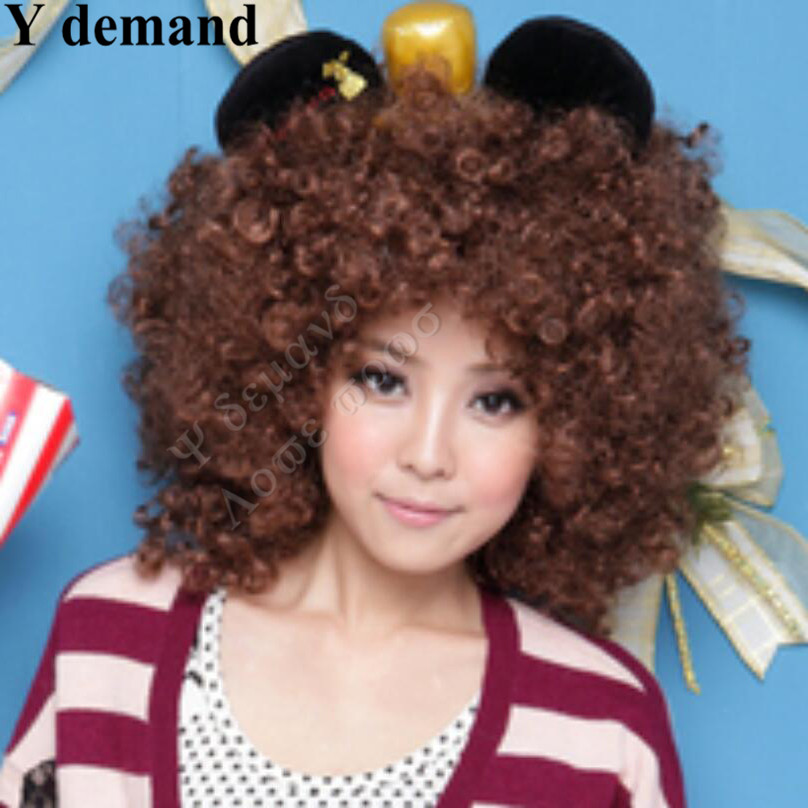 Harajuku Anime Dance Party Afro Wig Cosplay Short Curly Costume Synthetic Fiber Black Wigs Ball Fans Halloween Peruca Pelucas<br><br>Aliexpress