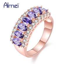 Almei China Wedding Rose Gold Color Ring Pink Vintage Jewelry for Women Purple/Green/Blue Stones Cheap Rings Anel Feminino J501(China)