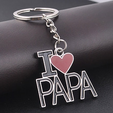 Fashion metal letter Keychain I LOVE PAPA enamel keyrings Christmas gift Valentine gift LOVE keychain for father's day