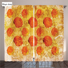 Insulated Curtains Living Room Bedroom Vintage Rose Flower Pattern Paint Grubby Grunge Rusty Orange 2 Panels Set 145*265 sm