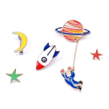 Cartoon Cute Girl Space Moon Spacecraft Enamel Brooches Women Girl Badges Cloth Pins Cartoon Alloy Brooch Jewelry Accessories