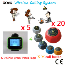 Waiter Paging System Wireless Waiter Call Wrist Watch Pager, Functional Wireless Restaurant Calling(5 watch+20 table call )