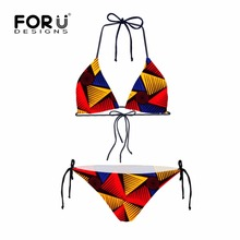 FORUDESGINS African Style Print Women Summer Beach Bikini Sets Two Piece String Printing Sexy Girls Wear Bath-suit - FORUDESIGNS Outdoor Fun Lifestyle Store store