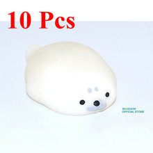 10 Pcs/lot Kawaii Seal Lions Mochi Squishy Cute Phone Straps Slow Rising Soft Press Doll Pendant Bread Cake Kids Toy Xmas Gift