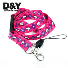 Neck Lanyards for keys pink Skull Lanyard Keychain Necklace for Cell Phone ID Badge Holder Neck Straps 12pcs/lot Free shipping(China)