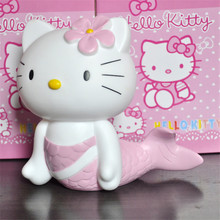 Hello Kitty Money Bank Mermaid Shape Cute Can Store Coins Model, 17cm Hello Kitty Figure Money Bank Cos Mermaid Toys/ Brinquedos