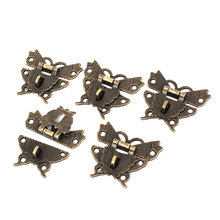 UXCELL Weight Wooden Case Box Butterfly Shape Hasp Lock Latch Bronze Tone 5Pcs 84g