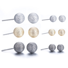 Lureme Classic 6 Pairs Triple Tones(Silver Gold Gunmetal) Matte Ball Stud Earrings for Women Girl Jewelry Wholesale (er005463)