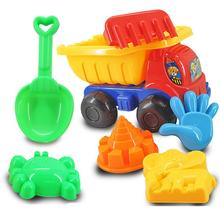 2017 New Sand and dabbling Model Play Water 7Pcs Plastic Sand Sandbeach Kids Beach Toys Car Bucket Spade Shovel Rake Water Tools(China)