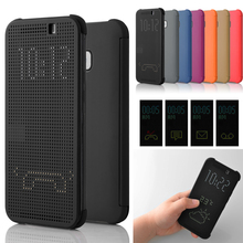 Cell Phone Case Flip Shockproof Auto Sleep Wake Silicone TPU Ultra Slim Dot View Smart Protective Cover For HTC One M8 M9 Plus