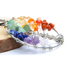 Collares Life Tree Quartz Chips Pendant Women Rainbow Crystals Multicolor For Wisdom Natural Stone Necklace(China)