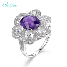 l&zuan Amethyst S925 Silver Womens Rings Trendy Flower Purple Prong Setting Gemstones Wedding Fine jewelry Party Gift(China)