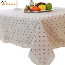 Shabby Chic Cottage Farmhouse Floral Table Cloth Cover White with Embrioider Cotton accept custom and machinery
