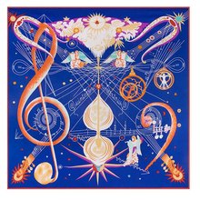 130cm*130cm Women 2017 New Fashion Twill Silk Euro Angel Guitar Musical Note Staff Printed Square Scarf(China)