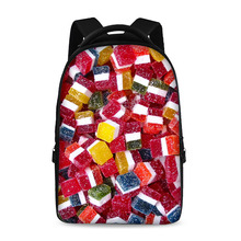 17-inch fruit pattern candy pattern children backpack school backpack youth boys and girls laptop bag can store 15-inch computer