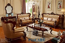 USA red solid wood golden yellow genuine leather sofas set living room furniture with wood surface's coffee table in China-6806(China)