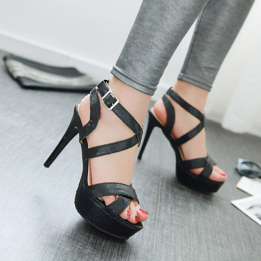 2016 summer Women shoes buckle strap solid color Thin with shoe back   strap platforms Mature sandals big size 32-45 T292<br><br>Aliexpress