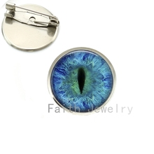 Wholesale stylish colorful Dragon Cat Eye brooches charm Green Blue or Purple animal Vertical pupil eyes image brooch pins NS069(China)