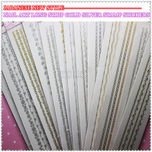 1pcs/lot Self Adhesive Long flower Nail Art Strip Stickers Color gold & silver stamp