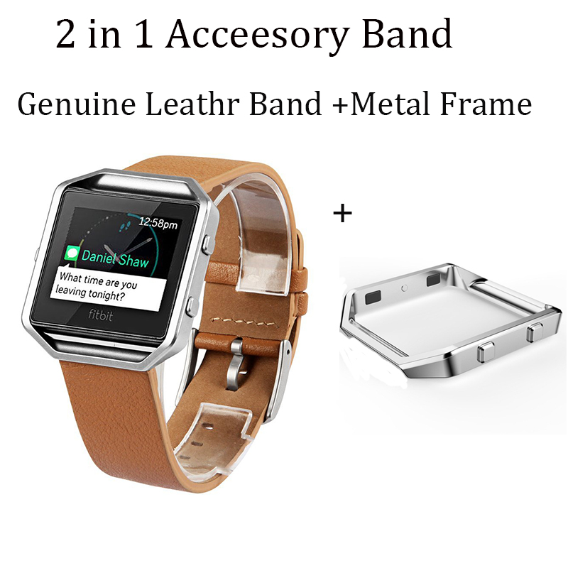 V-MORO Genuine Leather Camel Bracelet Strap Replacement Band With Metal Frame For Fitbit Blaze Fitness Watch<br><br>Aliexpress