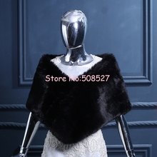 2016 New Fashionable Faux Fur Black Wedding Shawl Formal Occasion Cape Evening Party Prom Wraps Bridal Bolero