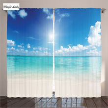 Blackout Curtains Ocean Decor Beach Sea Sand Sky Clouds Sun Cream Turquoise White Living Room Bedroo 2 Panels Set 145*265 sm