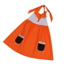 2017 New Trendy  Orange Baby Lovely Girls Dress Toddler Baby Girls Summer Fox Design Girl Dress Baby Princess Dress Kids Costume
