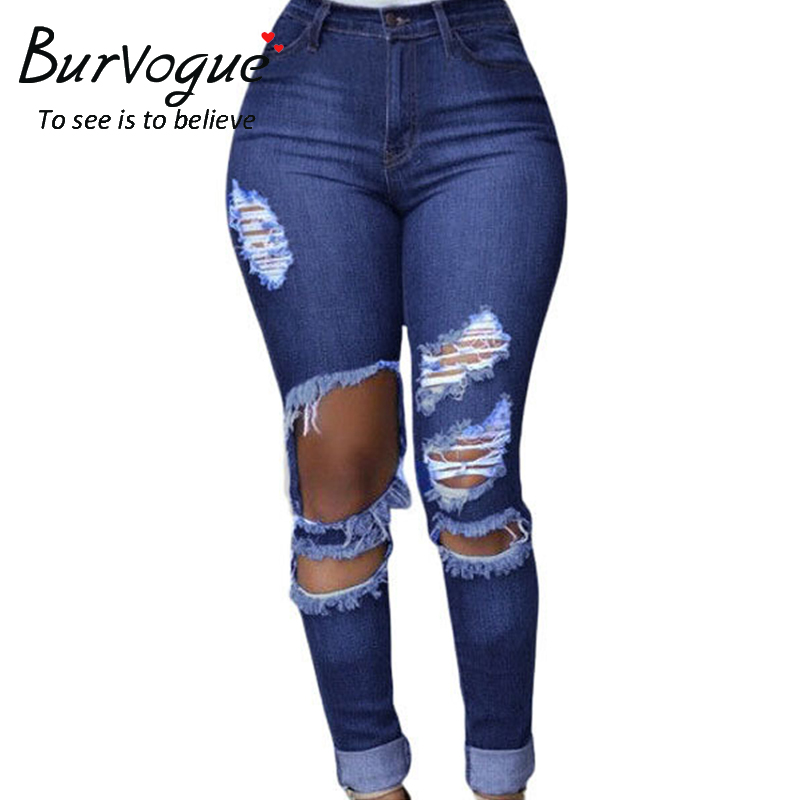 Burvogue Women 2017 New Hole and Hollow Out Jeans Distressed and Ripped  Boyfriend Jeans for Women High Waist JeansОдежда и ак�е��уары<br><br><br>Aliexpress