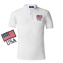2016 Flag Polo Shirts Summer Style Fashion Short Sleeve Solid Masculina Slim Fit Camisa Men Polo Shirt Embroidery Flag F5032(China)