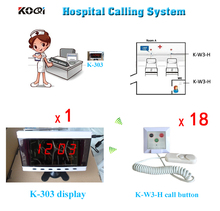 Hospital Clinic Wireless Nurse Call Medical Emergency Service Call System K-303 English Prompt Display w 18pcs Calling Button