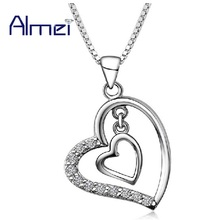 2017 Mujer Silver Heart Pendant & Necklace for Women Accessories White Crystal Love CZ Zircon Pendants Stone Joias Ulove N698(China)