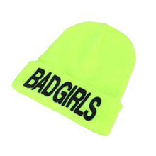 4colors Free Shipping New Fashion Warm Winter Knit hats Unique Bad Girl Knitted Beanie Black Winter Hat For Girls Beanie 0180(China)