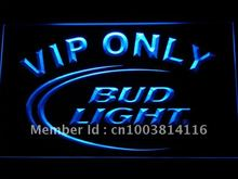 092 Bud Light VIP Only Bar Beer LED Neon Sign with On/Off Switch 7 Colors to choose