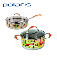 Polaris FL-24C/FL-24SP Non-stick Pan 20cm/24cm Combined color Stainless steel Deep stewing pan Fresh Line with Cover Frying