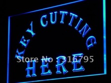 i882 Key Cutting Here Cut Shop LED Light Sign On/Off Swtich 7 Colors
