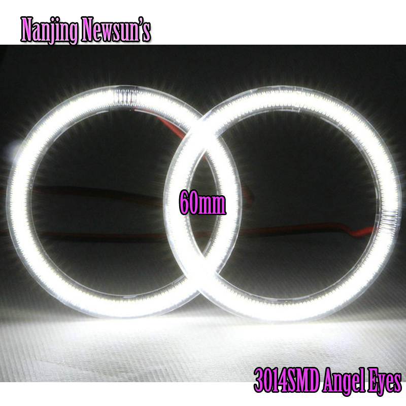 2Pieces(1Pair) Auto Halo Rings SMD 60mm Angel Eyes 3014 Chips 57SMD Car Daytime Running Light DRL Angel Eye Moto Fog Lamps White<br><br>Aliexpress