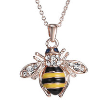 Golden Bee Rose Pendant Necklace Unique Austria Elements Crystal Necklaces For Women Jewelry Wholesale(China)