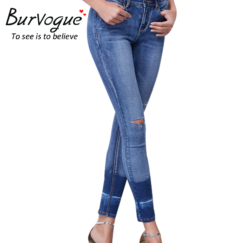 Burvogue Women Butt Lifting Jeans Skinny Stretch Leggings Ripped Full Length Pencil Pants with Pockets Autumn New ArrivalОдежда и ак�е��уары<br><br><br>Aliexpress