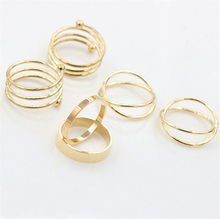 6 Pcs/Set Fashion Knuckle Rings for Women Girl Finger Ring Gift Unique Ring Punk Style Gold Sliver Plated