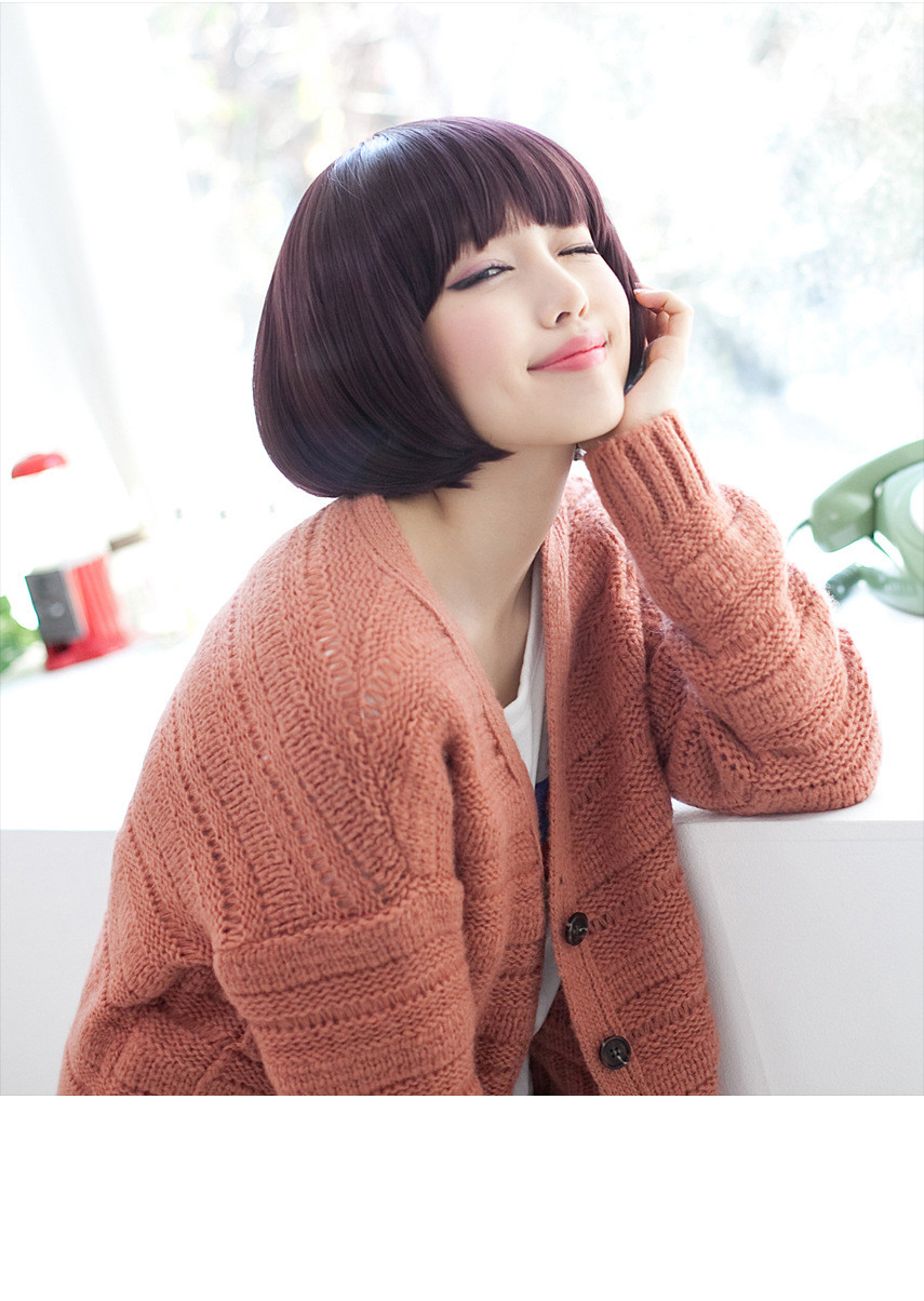 Cheap Short Bob Wig with Full Bangs Black/Brown Ombre None Lace Wigs Eihanna Bobo Synthetic Hair Wigs For Black American Women<br><br>Aliexpress