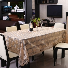 Luxury transparent water-soluble lace embroidery table cloth home hotel dining wedding tablecloth dust cover textile decoration