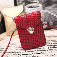 Universal Phone Neck Pouch Casual Mini Leather Strap Cross-body Shoulder Bag Plaid Chain Clutch Purse Wallet Case for Women