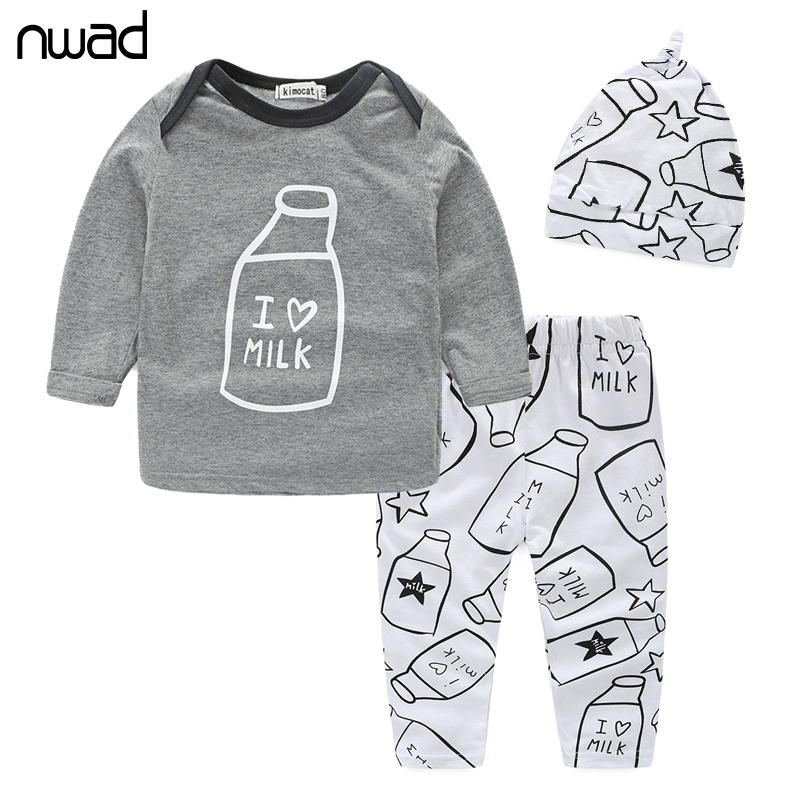 Baby Boys Clothes Set 2017 New Spring Autumn Newborn Baby Girl Clothing Long Sleeve T Shirt +Pant + Hat 3PCS/Set FF034<br><br>Aliexpress