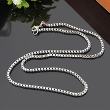 MJARTORIA 2017 Fashion Stainless Steel Box Chain Necklace Bright Silver Tone For Men Women Fine Jewelry Making DIY 50cmx2.5mm