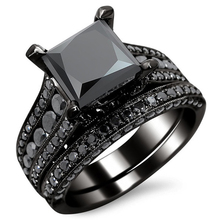 MJARTORIA Black Square Crystal Zircon Ring Set Black Gold color Imitation Gemstone Engagement Jewelry Wedding Rings For Women